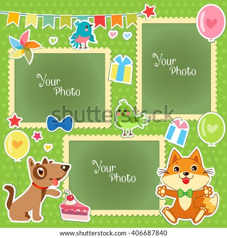 Photo Frames For Kids. Decorative Template For Baby, Family Or Memories. Scrapbook Vector Illustration. Birthday Children'S Photo Framework. Photo Frames Collage. Photo Frames Making At Home. - stock vector