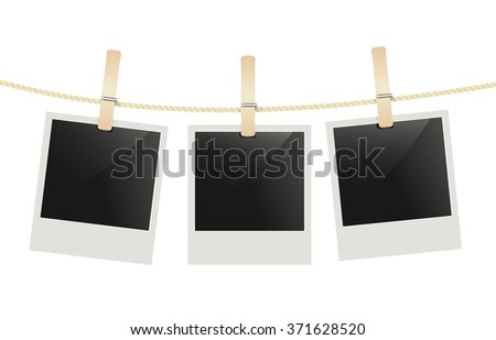 photo frames hanging on a rope with clothespins. vector  - stock vector