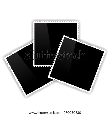 Photo Frames Isolated on White Background. Empty Vintage Photo Frames. - stock vector