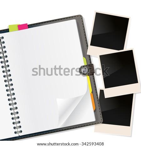 photo frames on open diary on white. vector - stock vector