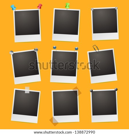 photo frames on orange background - stock vector