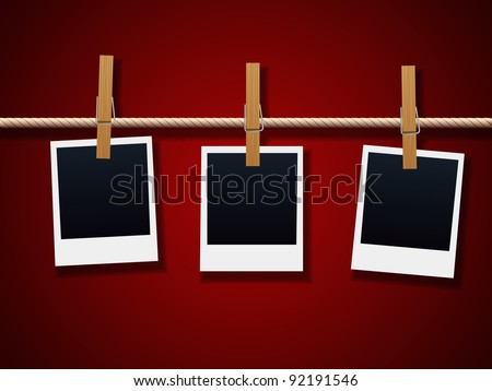 Photo Frames On Rope - stock vector