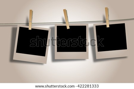 Photo Frames on Rope. Illustration on white background.