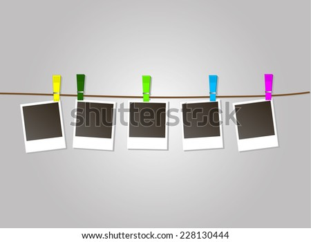 Photo Frames on Rope with colored clothespins. Vector Illustration on grey background. EPS 10 - stock vector