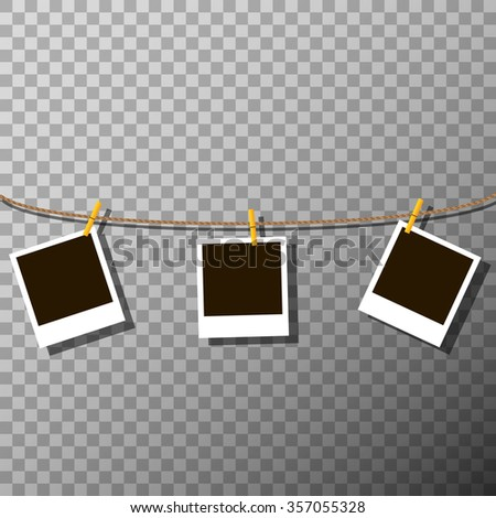 Photo frames on the rope on the transparent background - vector illustration