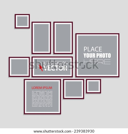 Photo frames on wall. Vector illustration - stock vector