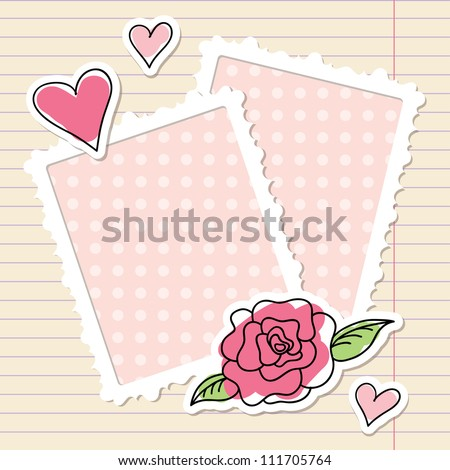 photo frames, rose and hearts of paper - stock vector