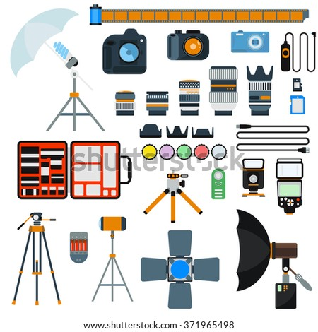 Photo icons vector collection. Photo studio flat vector equipment. Photo symbols isolated on white background. Flat style photo tools. Photo studio tools. Photo studio icons - stock vector