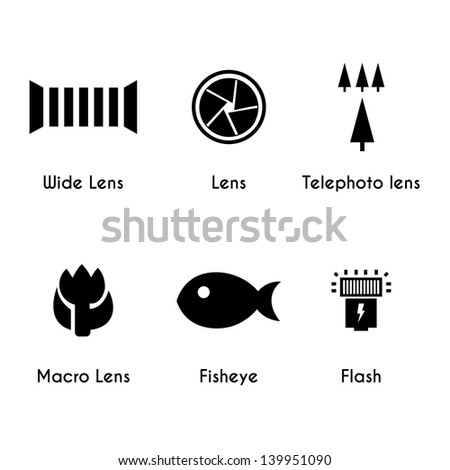 Photo lens icons set on white background