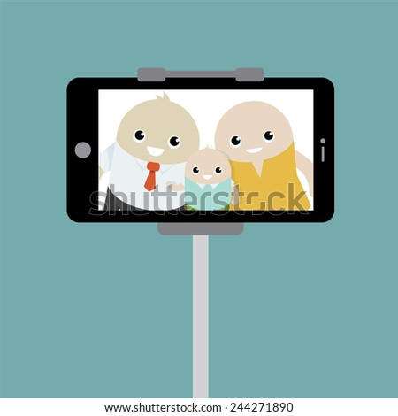 photo of family with phone camera, vector illustration - stock vector