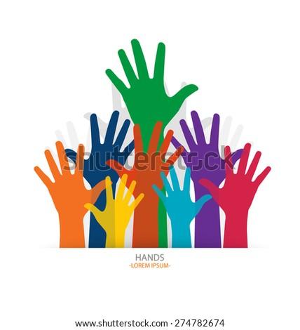 Photo of raised hands. Vector illustration. - stock vector