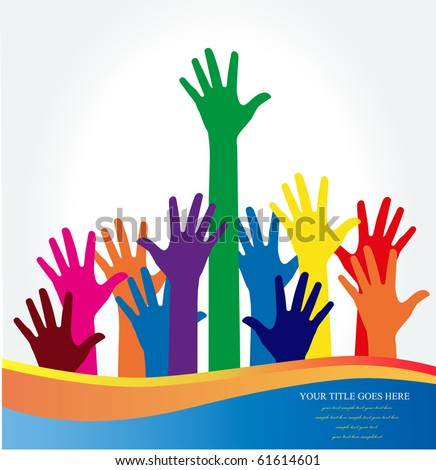 Photo of raised hands. Vector illustration. - stock vector
