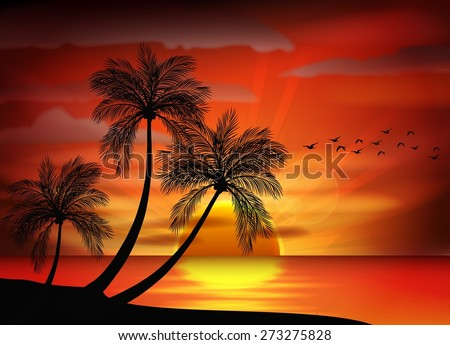 Photo of sunrise on sea. vector illustration