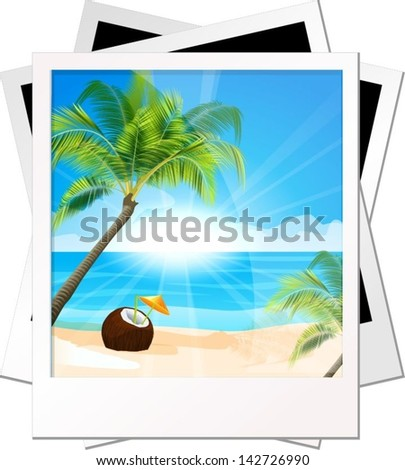 Photo palms on a sea background - stock vector