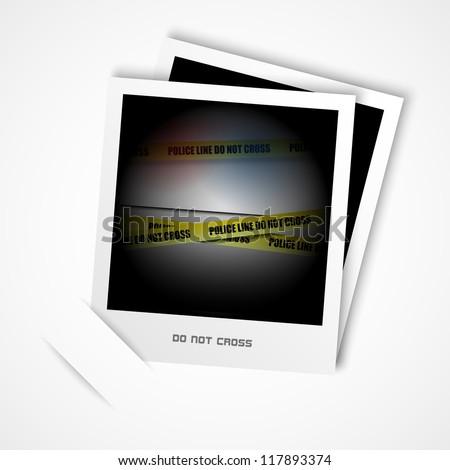 photo, police line - stock vector
