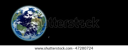 photo-realistic planet Earth and moon in full view banner - stock vector
