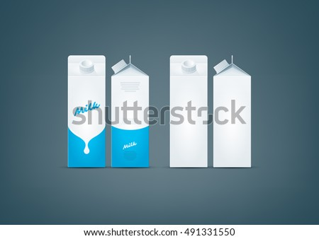 Photo-realistic premium vector set of white carton pack for milk mock-up ready for to display your design. All color used here are CMYK compatible