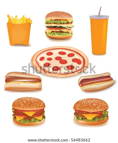 Photo-realistic vector. Big group of fast food products.