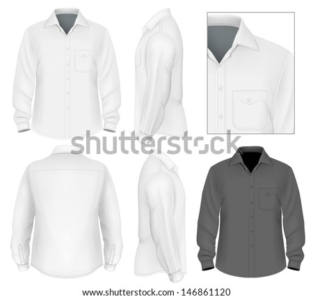 Photo-realistic vector illustration. Men's button down shirt long sleeve design template (front view, back and side views). Illustration contains gradient mesh. - stock vector