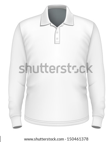 Photo-realistic vector illustration. Men's long sleeve polo-shirt design template (front view). Illustration contains gradient mesh. - stock vector
