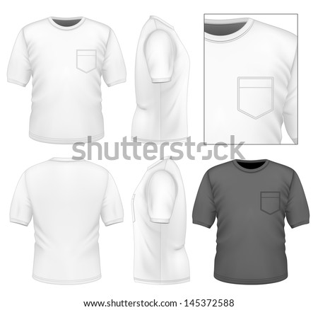 Photo-realistic vector illustration. Men's t-shirt design template (front view, back view, side views). Illustration contains gradient mesh. - stock vector