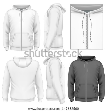 Photo-realistic vector illustration. Men's zip hoodie design template (front view, back and side views). Illustration contains gradient mesh. - stock vector