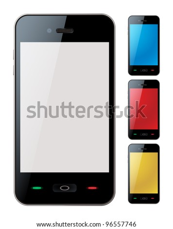 Photo-realistic vector illustration of different colored smart phones with copyspace on the screen - isolated - stock vector