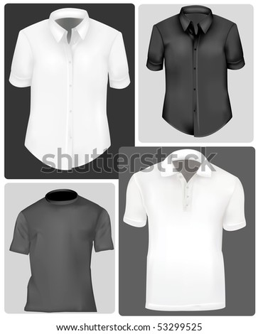 Photo-realistic vector illustration. Polo shirts and t-shirts.