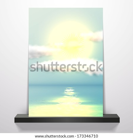 Photo-realistic Vector Natural background on flyer or brochure with sunset at sea. Eps 10  - stock vector