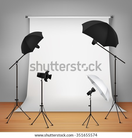 Photo studio design concept set with lamps and camera on tripods  vector illustration - stock vector