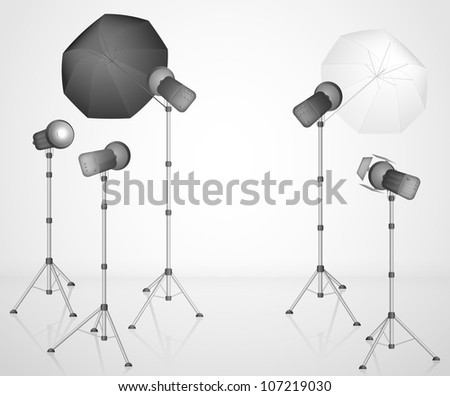 Photo studio with a professional light. Eps 10