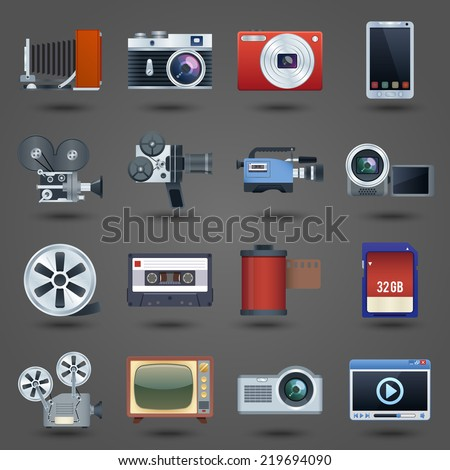 Photo video camera and multimedia equipment set isolated vector illustration - stock vector