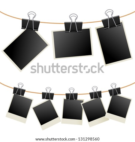 Photo with binder.  Illustration on white background - stock vector