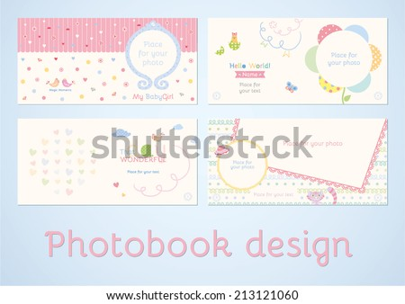 Photoalbum design. Photobook design. Set of double pages design for photoalbum in vector. Scrapbooking elements with space for text and photo - stock vector
