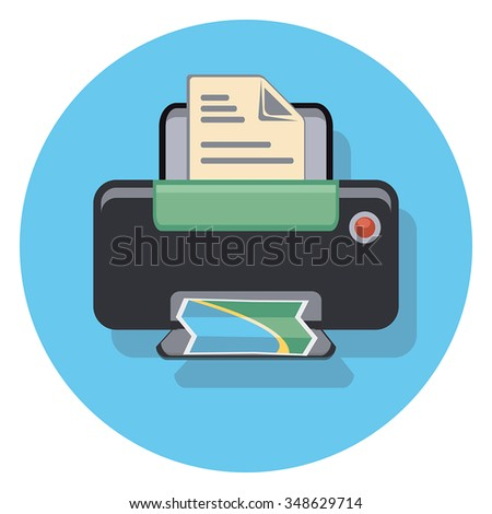photocopy flat icon in circle - stock vector