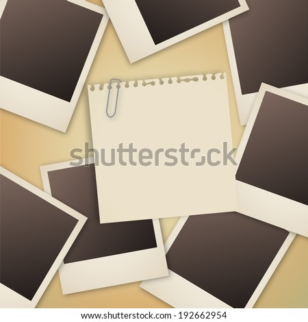 Photograph and Note Paper on table - stock vector