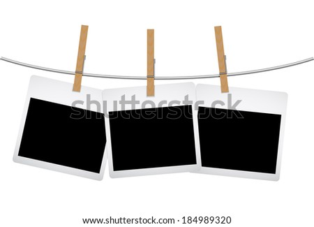 photograph hanging on a shoestring - stock vector