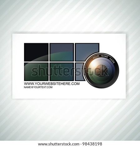 photographer abstract business card template with camera lens - stock vector