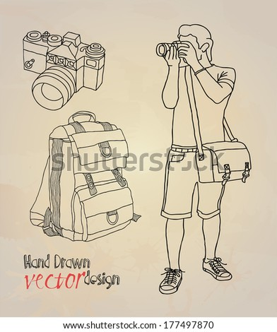 Photographer and Photo Accessories - stock vector