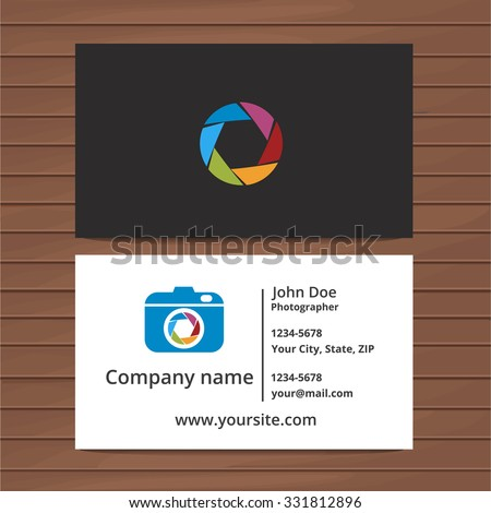 Photographer business card template two sided stock vector 331812896 photographer business card template two sided business card for professional photographer or visiting card design wajeb Images
