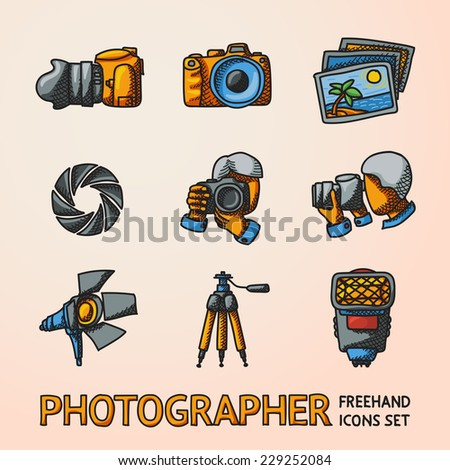 Photographer colorful freehand icons set with - shutter, camera, photos, shooting photographers, flash, tripod, spotlight. Vector - stock vector