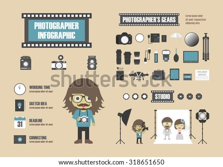 photographer infographic, set of tool icon, retro style - stock vector
