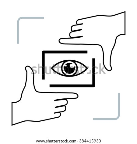 Photographer looking at you making framing hands. Nice frame made from fingers and eye inside. Vector perspective view illustration. - stock vector
