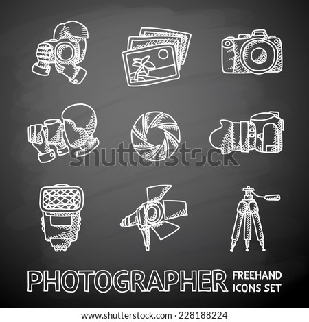 Photographer painted on black chalkboard icons set with - shutter, camera, photos, shooting photographers, flash, tripod, spotlight. Vector - stock vector