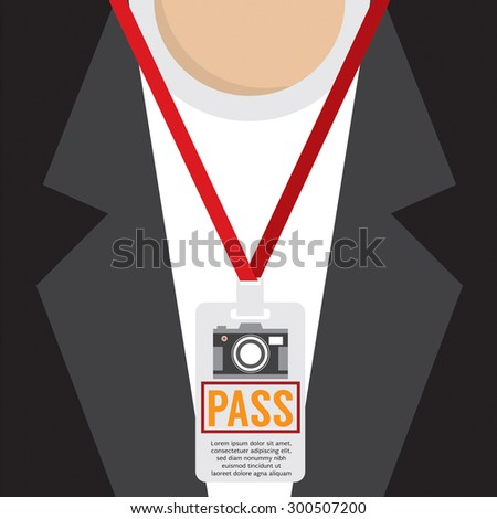 Photographer Pass Lanyard Vector Illustration - stock vector