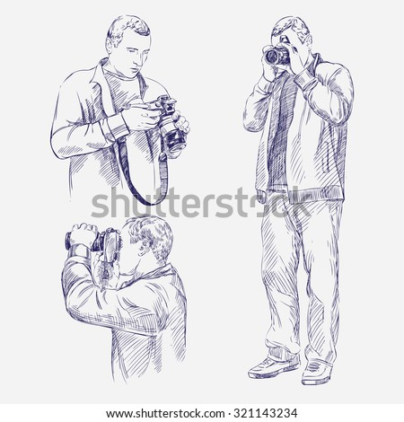 Photographer set - hand drawn vector llustration realistic sketch - stock vector