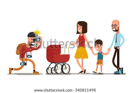 Photographer shooting happy family. People couple, married and woman, vector illustration - stock vector