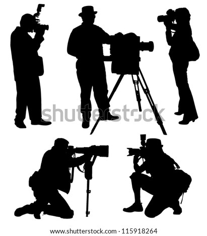 Photographer Silhouette on white background - stock vector