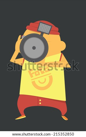 Photographer with a camera - stock vector