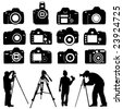 photographers and cameras vector - stock vector